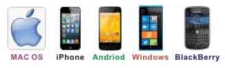 Mac OS, iPhone, Android, Windows, Blackberry